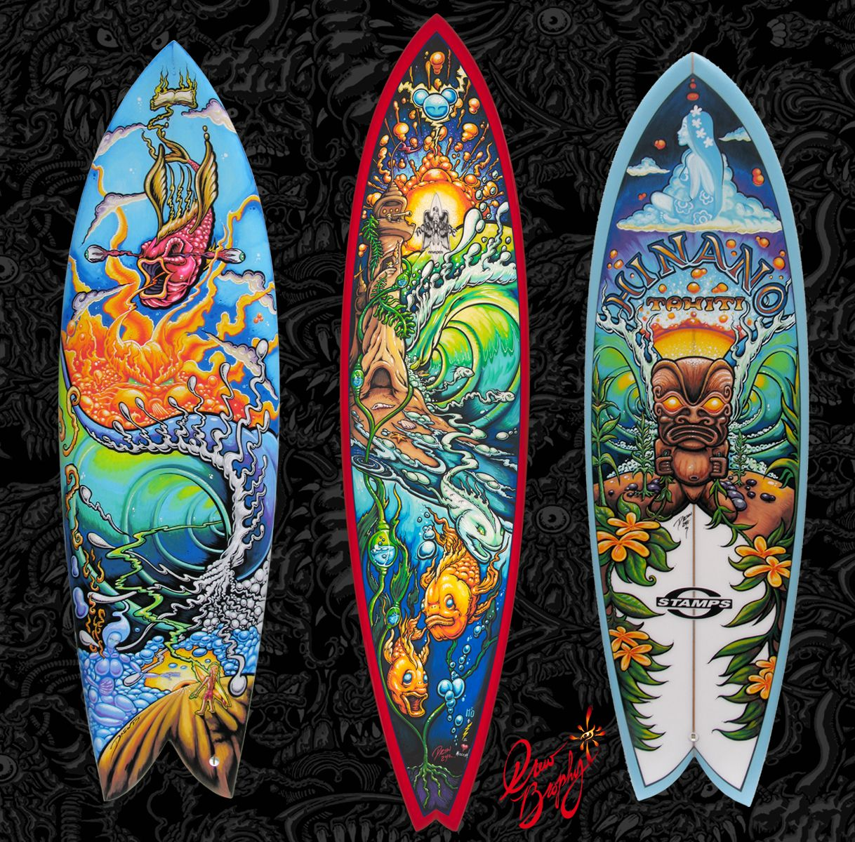 Cool surfboards 2014 drew has painted thousands of for Planche de surf decorative