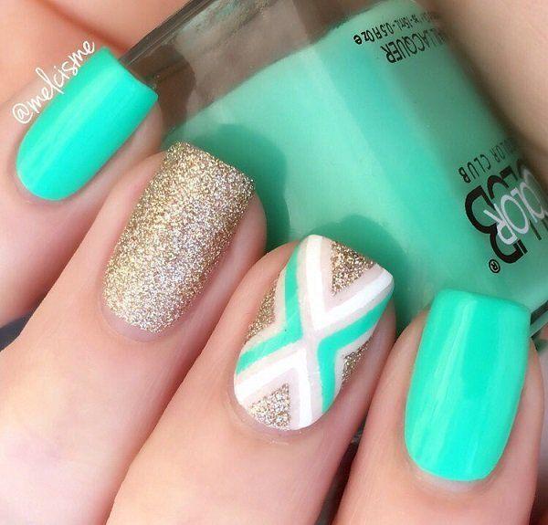 45 chevron nail art ideas chevron nail designs gold glitter 45 chevron nail art ideas prinsesfo Gallery