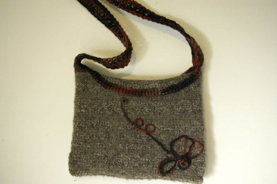 SOLD...  SPECIAL ORDERS ON REQUEST FOR THIS ONE .... AMERICAN HANDMADE Felted Purse Brown with by CCsCountryCreations, $40.00