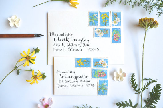 Wildflower Wedding Postage Stamp Set for Mailing by EdelweissPost