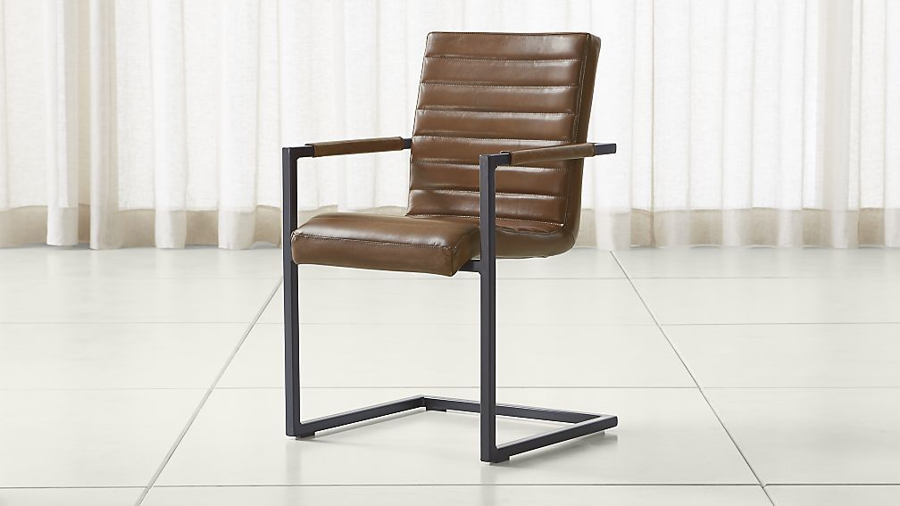 Hudson Channel Stitched Brown Leather Dining Chair   Crate And Barrel