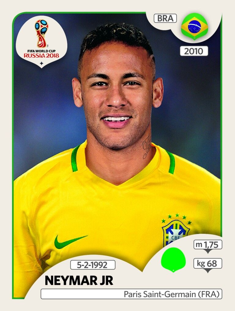 neymar brasil panini fifa world cup russia 2018 001 sticker collection fifa world cup. Black Bedroom Furniture Sets. Home Design Ideas