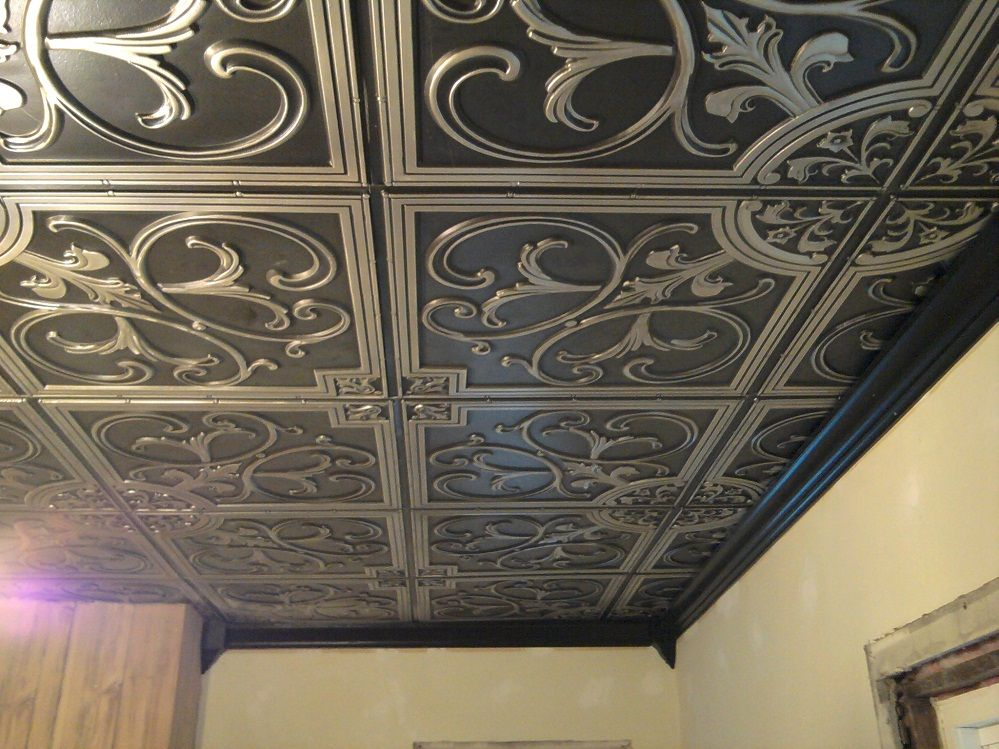 Styrofoam Ceiling Tiles With Fresh Paint Floating Is Low Cost While Providing Good Sound And Heat Insulation