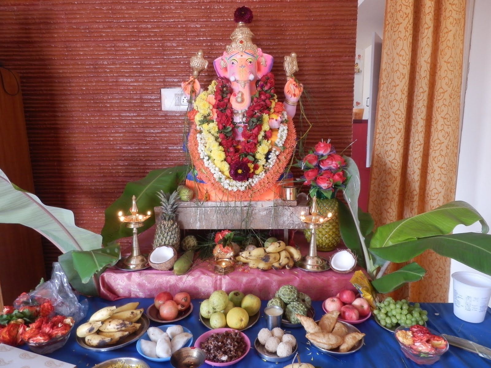 vinayaka chaturthi home decoration   Ganesha, Ganesh, Festival