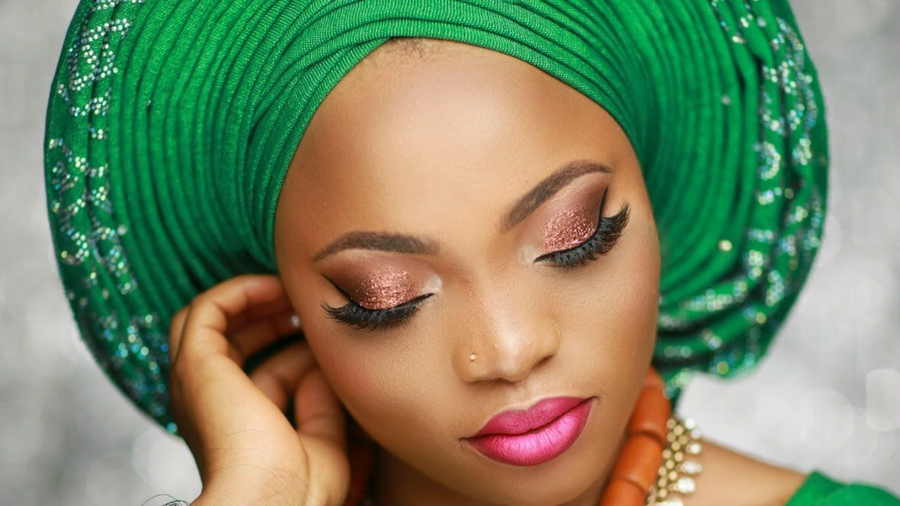 nigerian bridal makeup tutorial / pleated gele.   other native styles