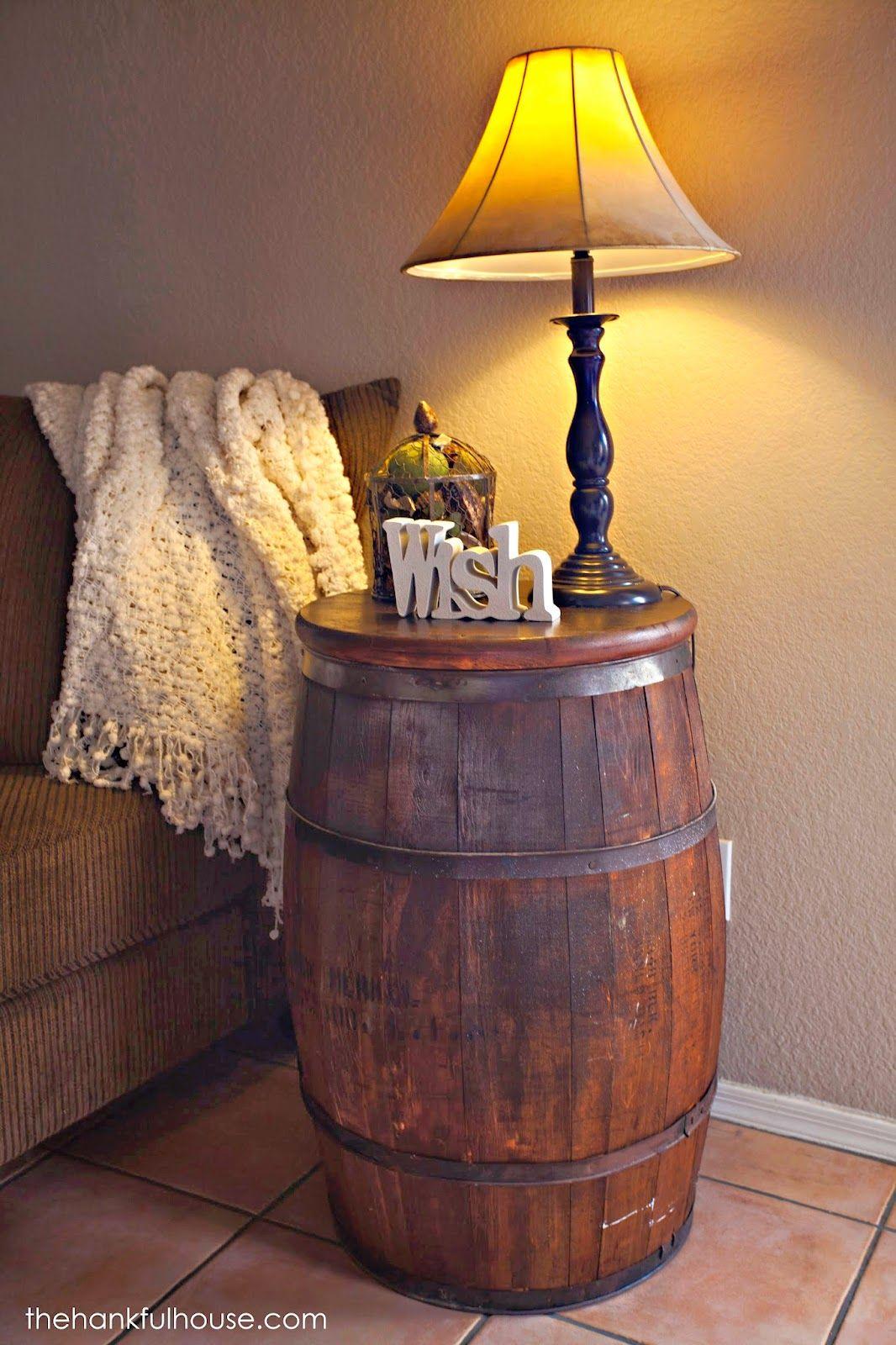 The Hankful House New York Vintage Barrel End Table Wine barrels