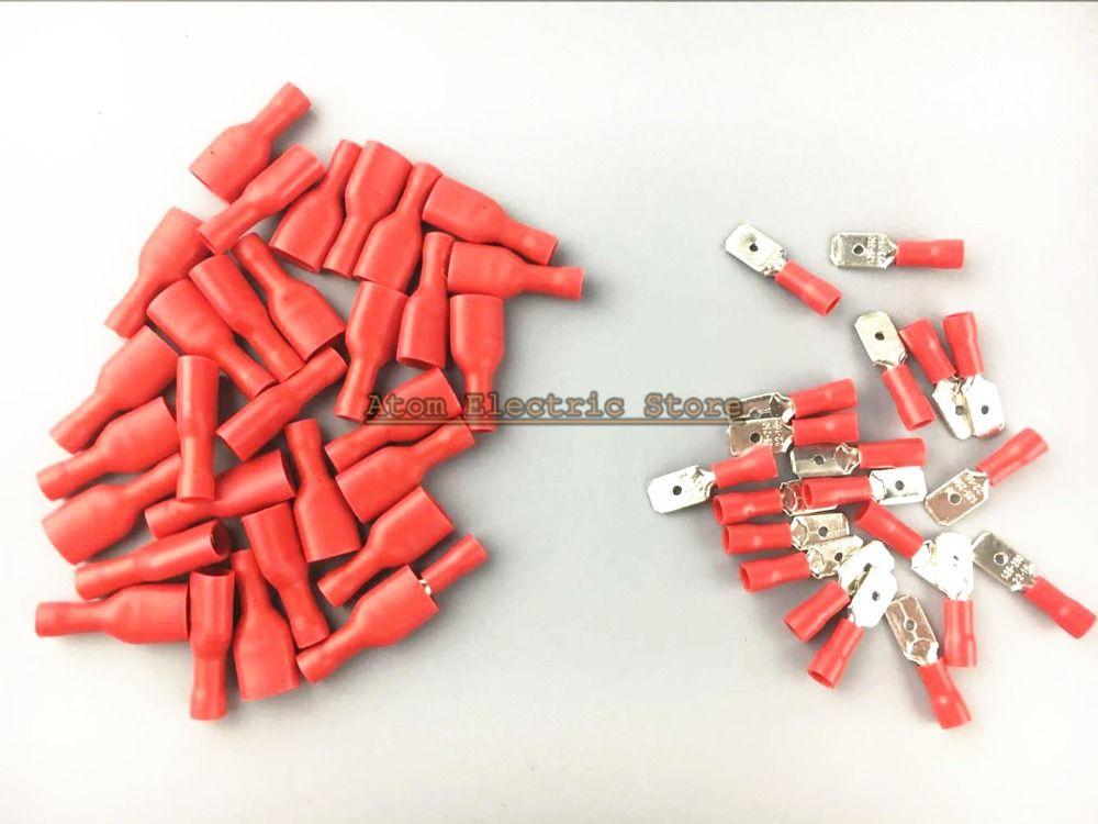 Faston rot 50 stücke 6,3mm einsatz stück frühling isolierung ...