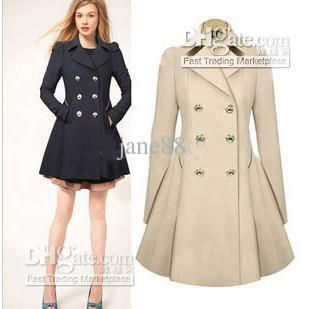 New women brand Fashion winter coat slim waist skirt double ...