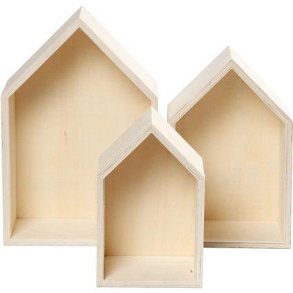 3 piezas Caja de madera, estantería Caja Forma de Casa, estante de - pared de madera