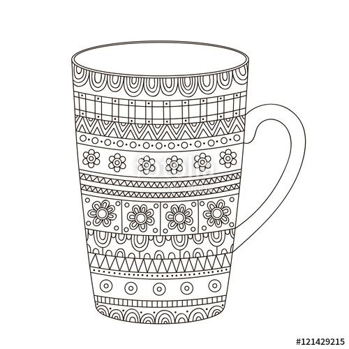 Coffee Cup Doodle Coloring Page For Adult Coloring Pages Fall