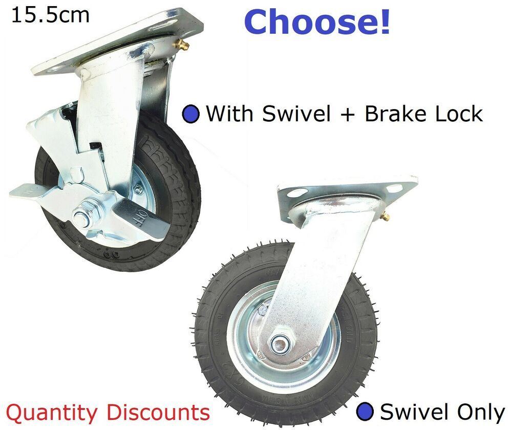 1 2 4 15 5cm Black Pneumatic Castor Swivel Plate Wheels Caster Tyre 80kg Max Ebay In 2020 Swivel Caster Wheels Casters Wheels Rubber Casters