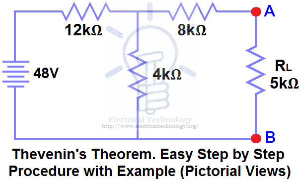 Thevenin S Theorem Easy Step By Step Procedure With Example Pictorial Views Theorems Electricity Basic Electrical Wiring