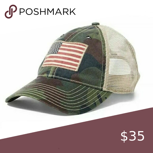 Polo Ralph Lauren Snapback Usa Flag Trucker Hat In 2020 Mesh Trucker Hat Camouflage Baseball Hat Trucker Hat
