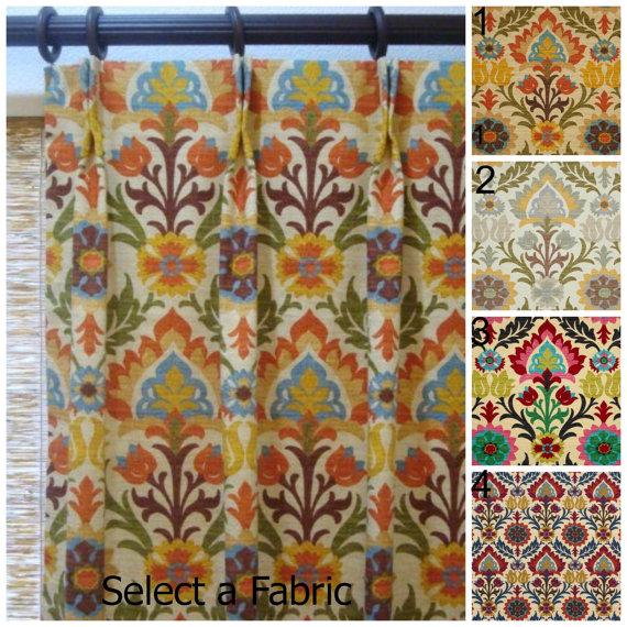 50x102 Pinch Pleat Custom Designer Curtain Panels Waverly Santa