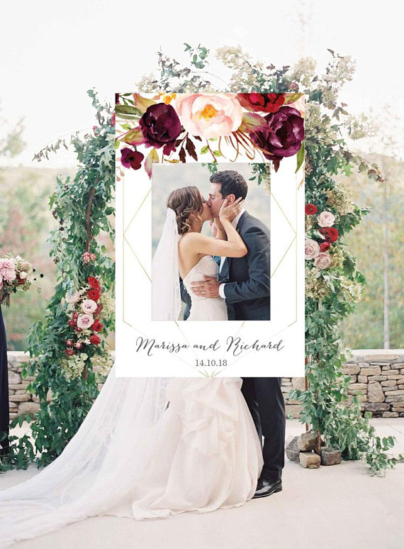 Geometric Photo Booth Frame Wedding Photo Prop Floral Wedding Sign