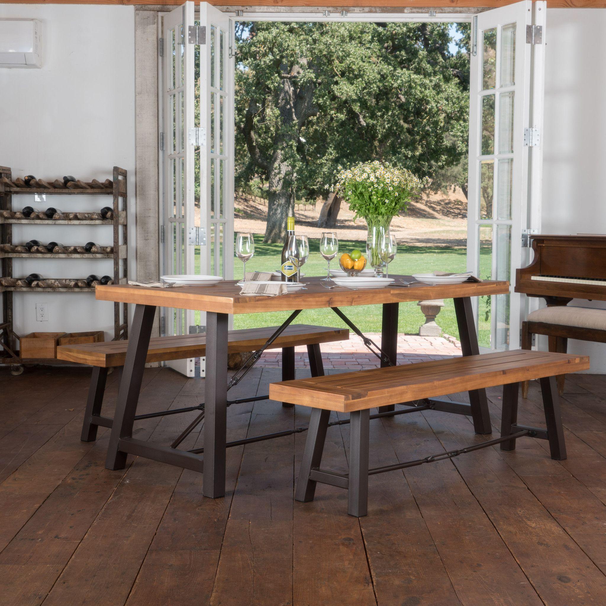 Austin Teak Finish Acacia Wood Dining Set