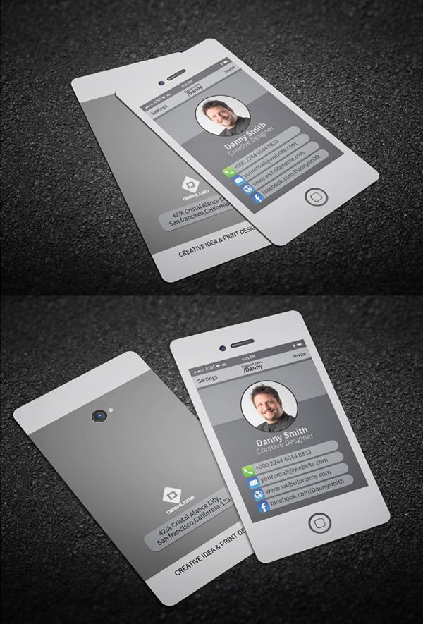 Stylish Smartphone Business Card Businesscards Psdtemplates Visitingcard Corporatedesign