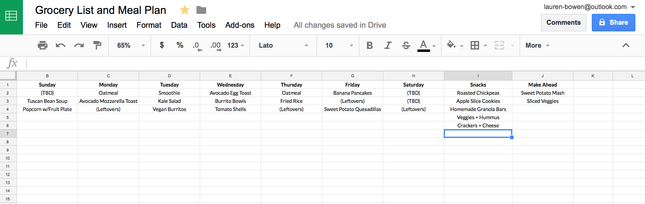 How I Use Google Sheets For Grocery Shopping And Meal Planning Meal Planner Template Meal Planning Meal Planning Template