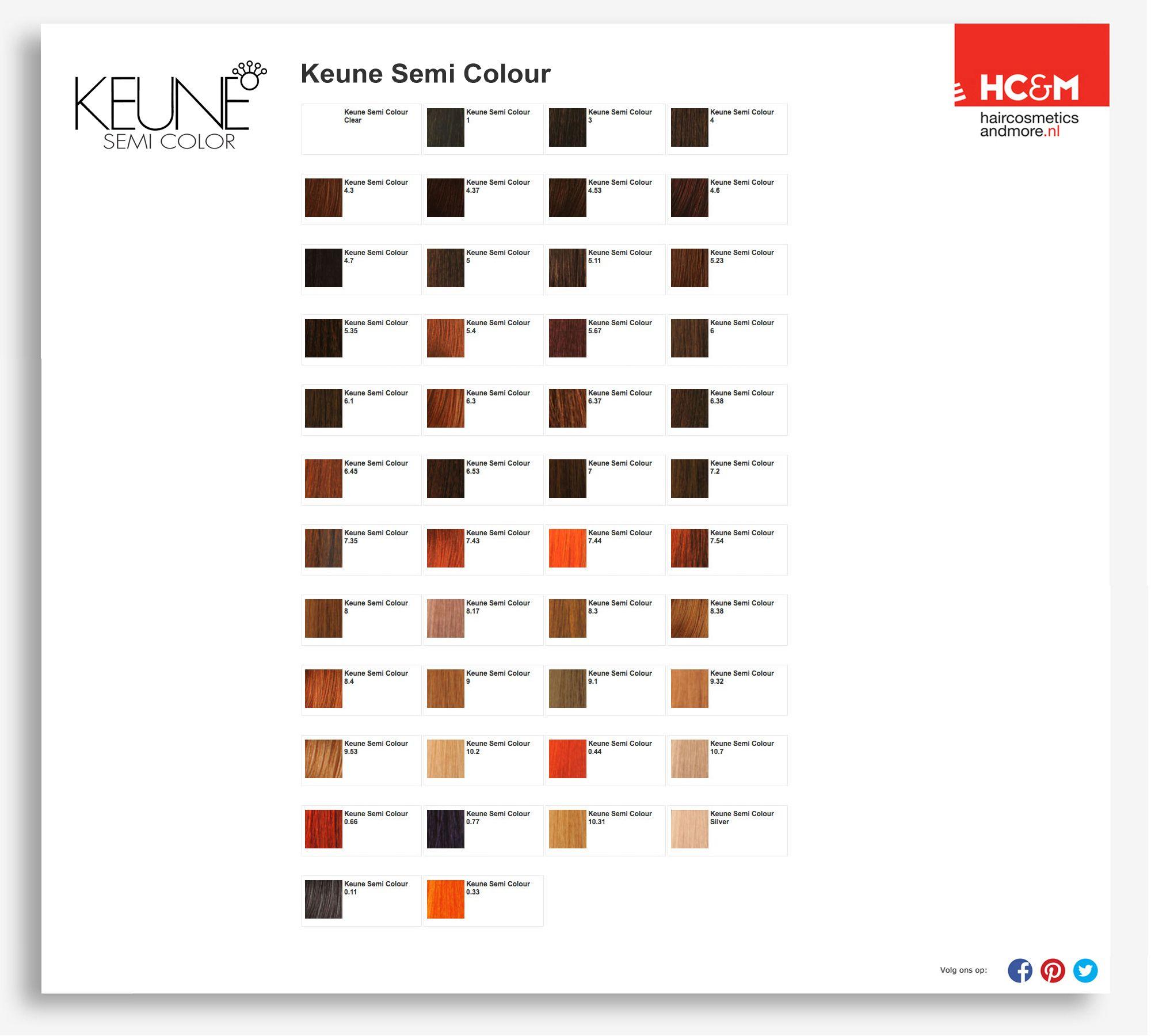 Keune Semi Color Shades Cellophane Hair Color Color Chart Hair Color Chart