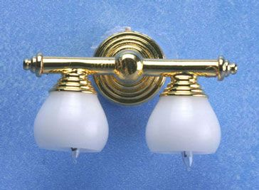 Mh45132 Brass Double Wall Lamp With White Shade 12v Sconces Wall Lamps Wall Lamp Dollhouse Lighting