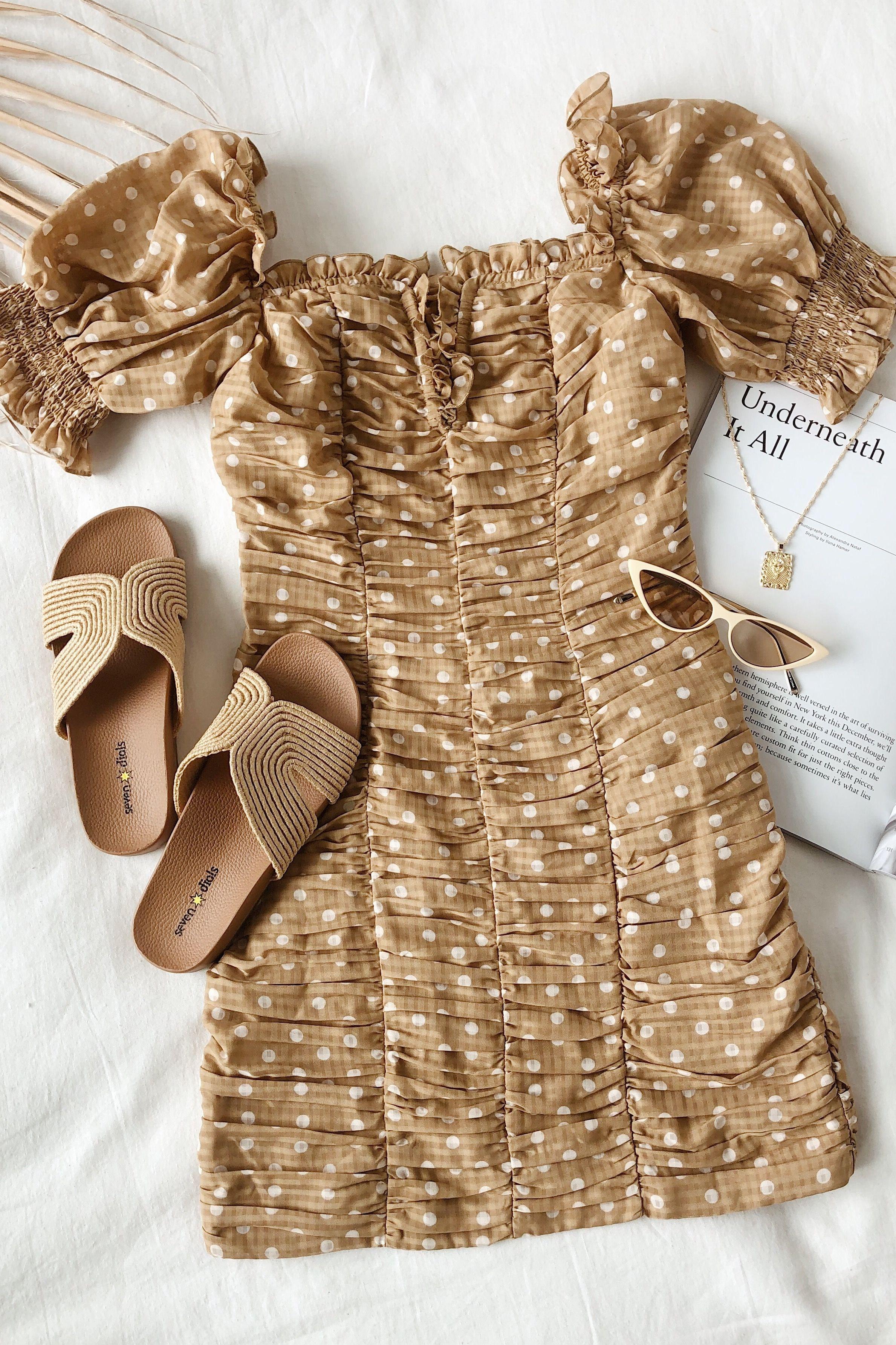 Rosie Tan Polka Dot Ruched Bodycon Dress Fitted Dress Outfit Ruched Bodycon Dress Flirty Outfits [ 3570 x 2378 Pixel ]
