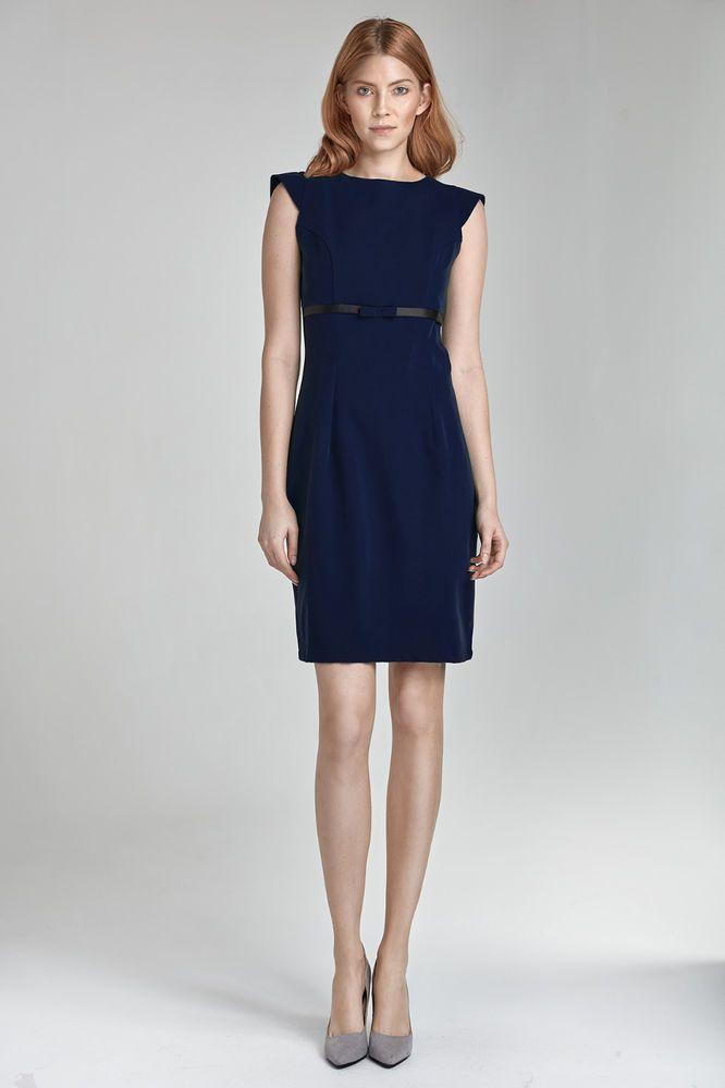 b28a8df9812 Robe élégante chic mode femme sans manches bleu marine haute qualité S36  NIFE  Robesdroites