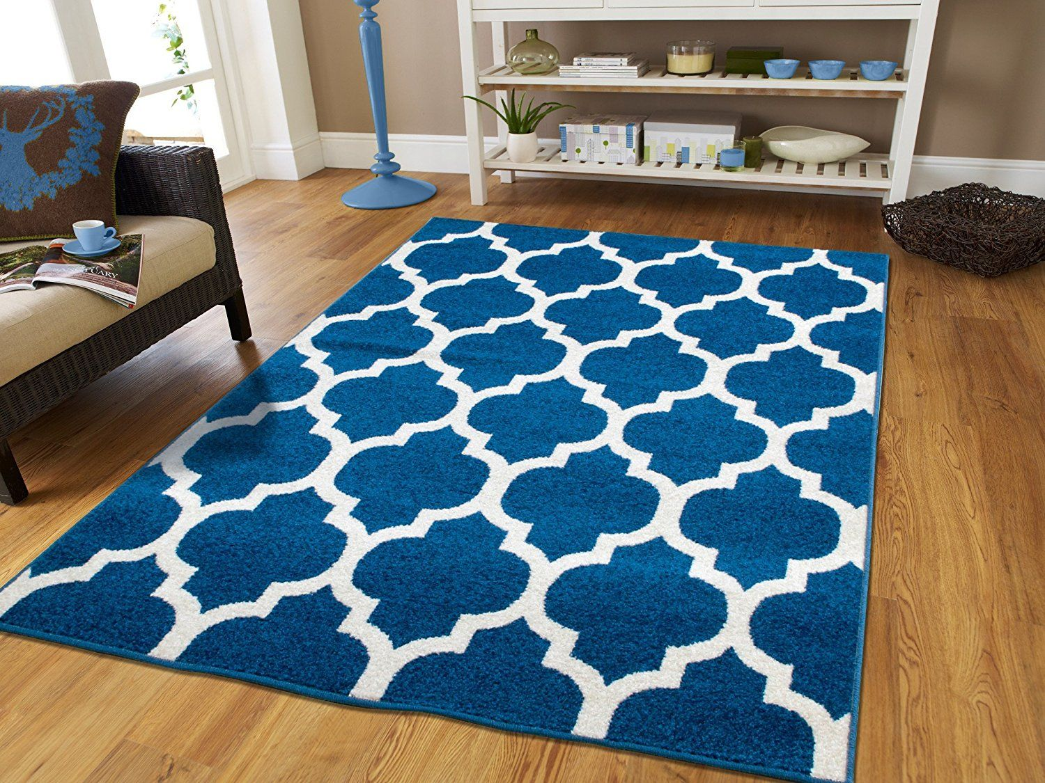 New Fashion Luxury Two Colors Blue And White Morrocan Trellis Area Rug For Living Room