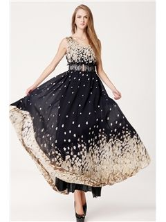 Ericdress Chiffon Vintage V-neck Maxi Dress