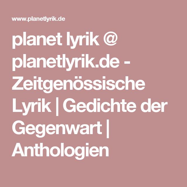 Planet Lyrik At Planetlyrikde Zeitgenössische Lyrik
