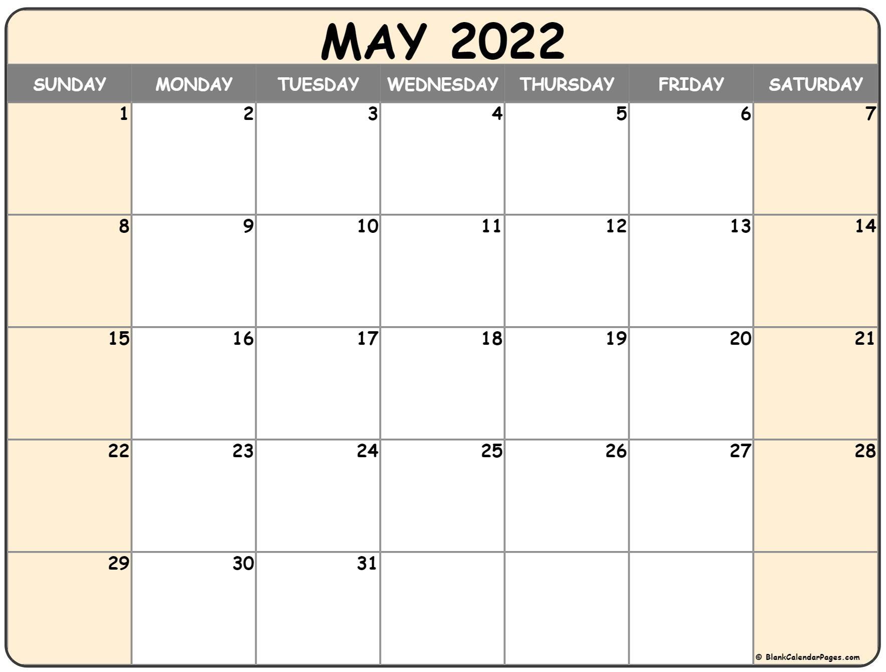 Monthly Calendar 2022 Printable Free Di 2021