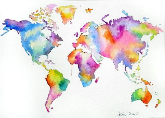 Sale ooak original world map art colorful watercolor by asho sale ooak original world map art colorful watercolor by asho 1100 sciox Image collections