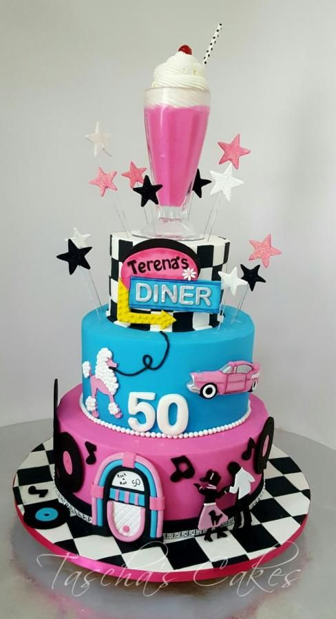Birthday Party 50s Sock Hop 60s Diner Cake