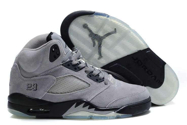 43fe99da24d Womens Air Jordan 5 Suede Grey/Dark Navy Blue | Stuff to buy | Air ...