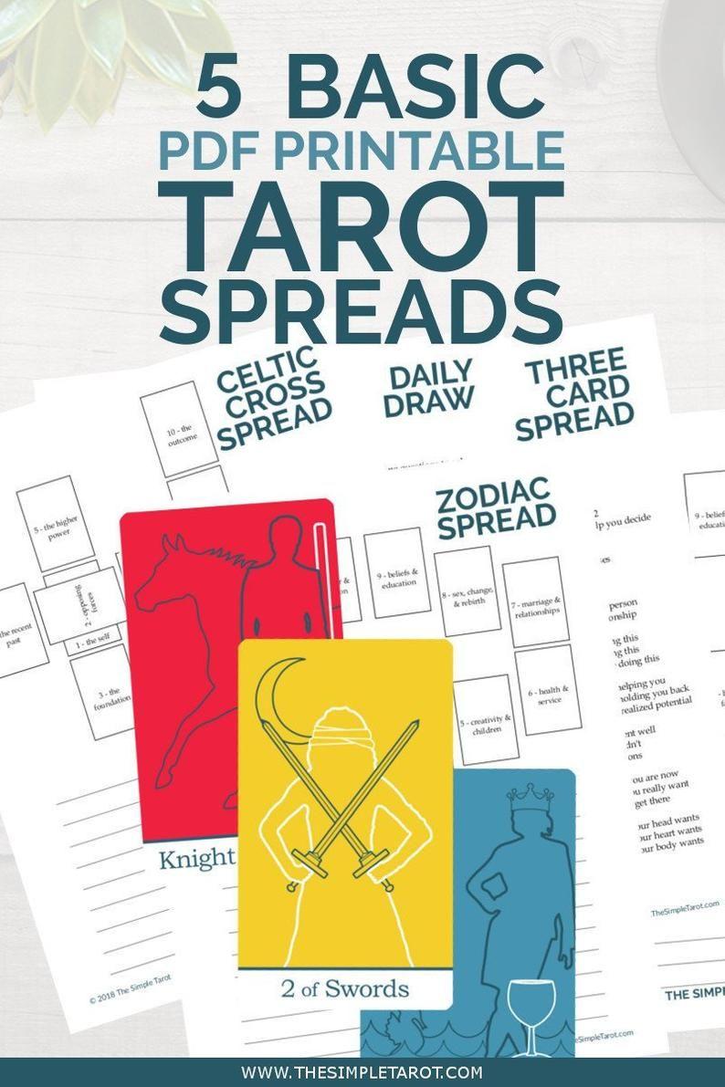 Basic tarot spreads bundle 5 digital tarot journal pages