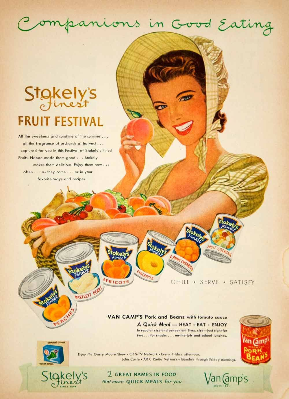 1952 Ad Stokelys Finest Canned Fruit Peaches Apricots Van
