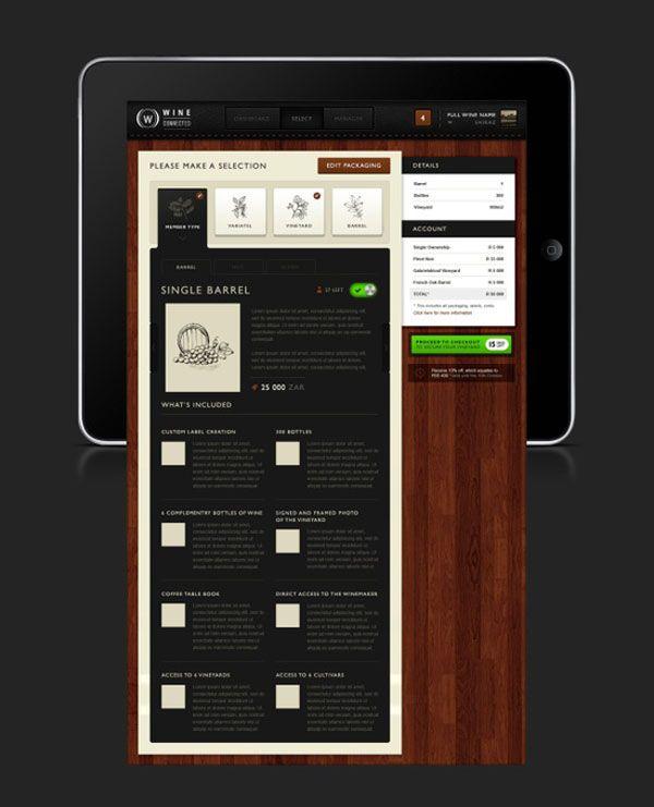 Wine Connected by Emile Rohlandt, menu restaurant iPad creative design