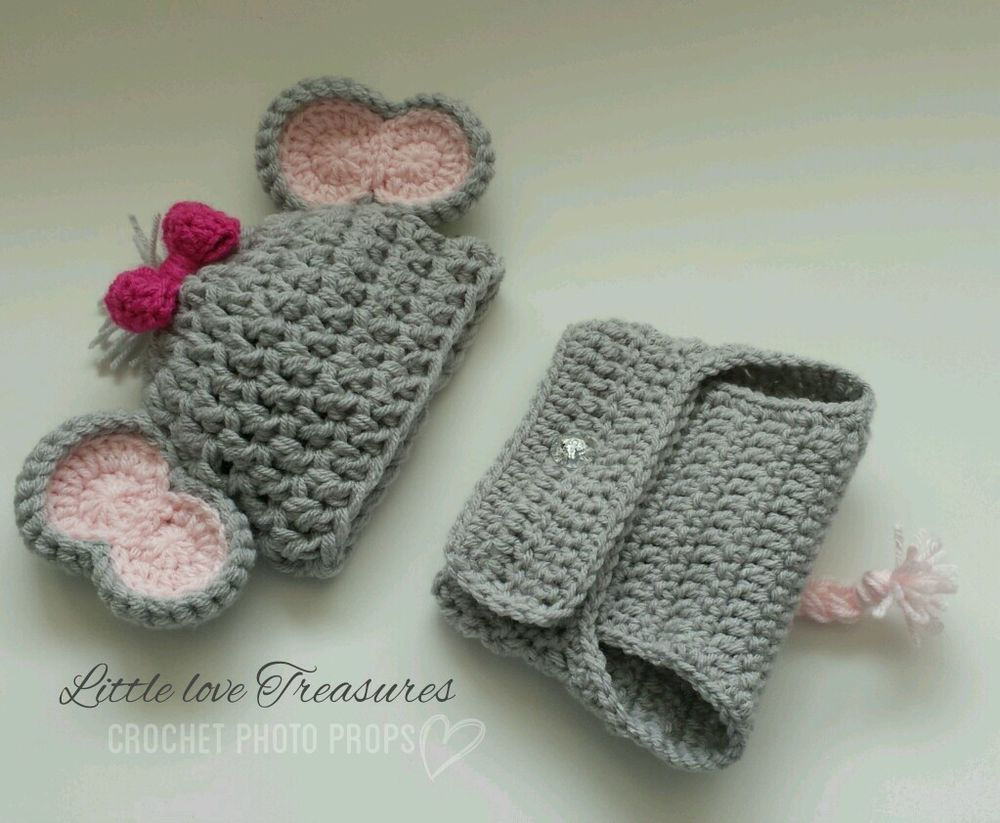 Newborn Baby Girl pink Elephant Hat and Diaper Cover Crochet photo ...