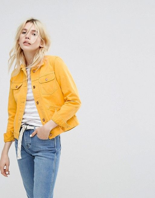 adf3ad8b859f Wrangler Trucker Jean Jacket in yellow asos