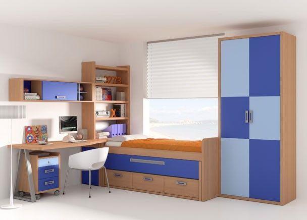 Habitaci n infantil con armario de 2 puertas compacto con 2 camas y cajonera la cama inferior - Cajonera bajo cama ...
