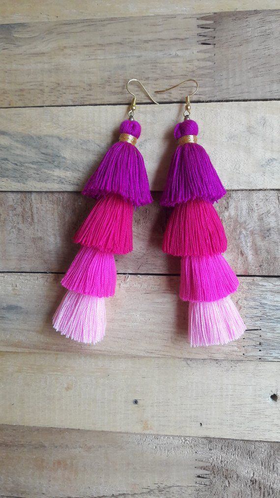 248d3fb21c7 Four Layer Pink Cotton Tassel Earrings,Pink earrings,Hand made ...