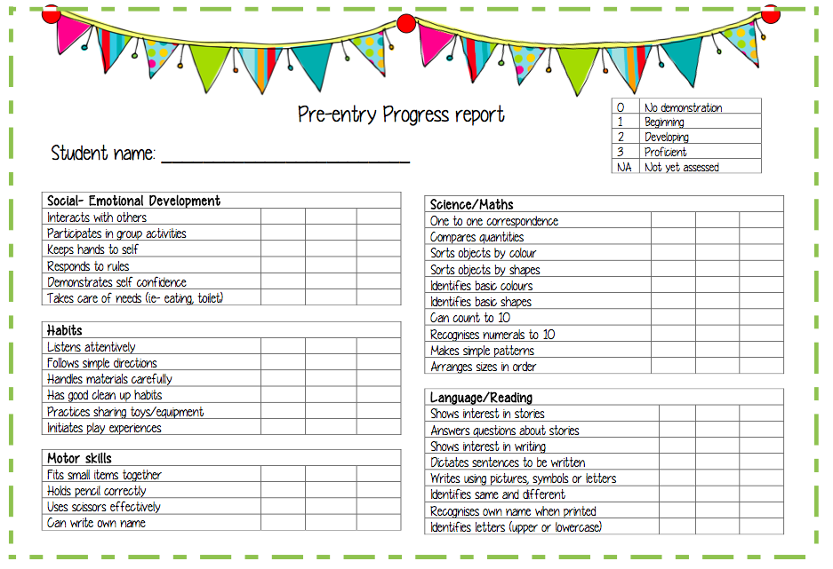 Pre Entry Progress Report A Report Template For Pre Entry Preschool Students Kindergarten Report Cards Report Card Template Progress Report Template
