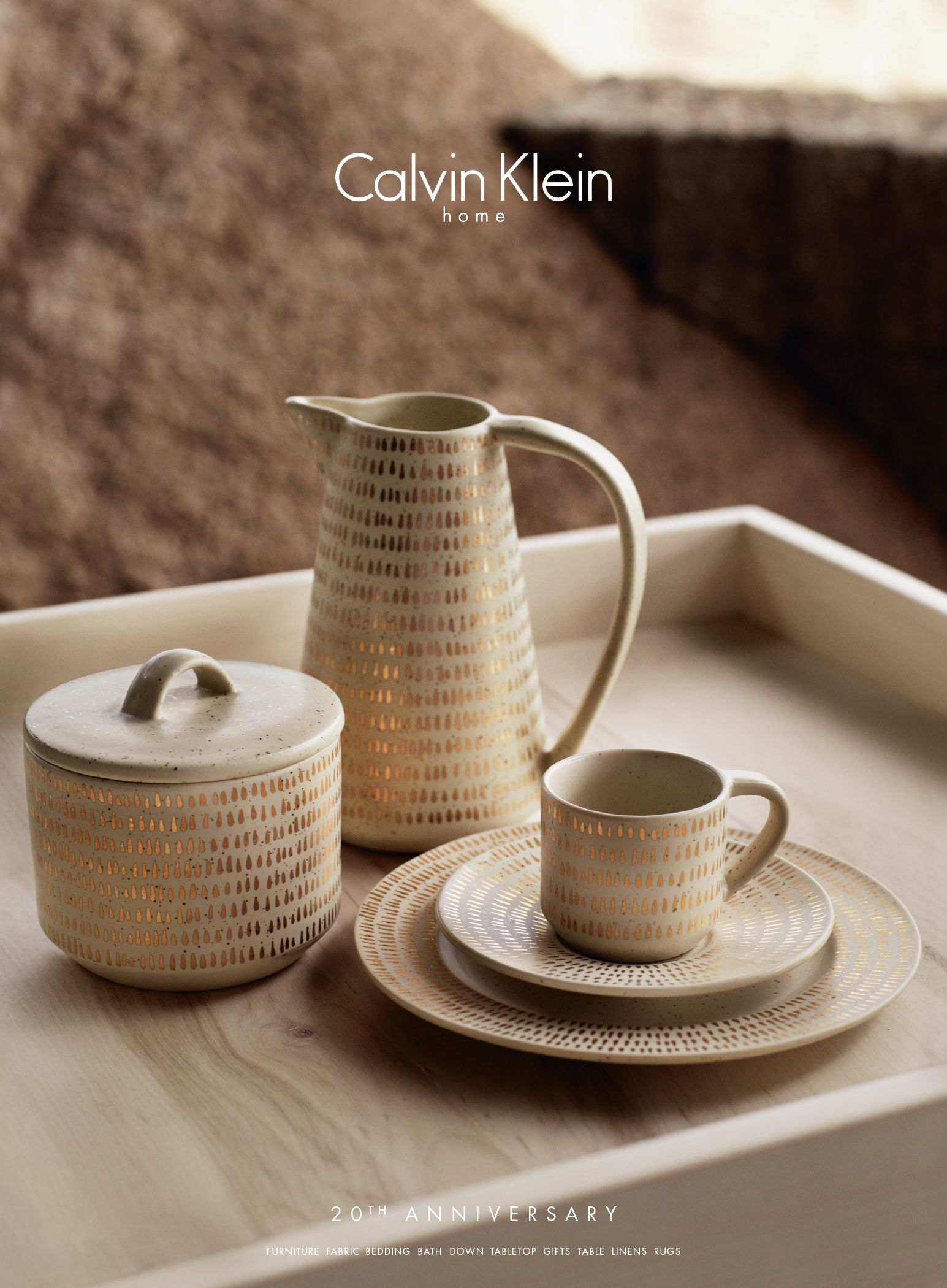 The Gold Fleck dinnerware collection from Calvin Klein Home is highlighted by dabs of gold & The Gold Fleck dinnerware collection from Calvin Klein Home is ...