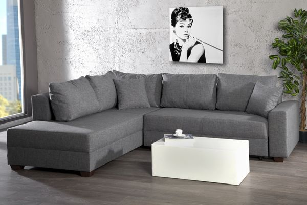 Design Ecksofa Apartment Strukturstoff Anthrazit Federkern Sofa