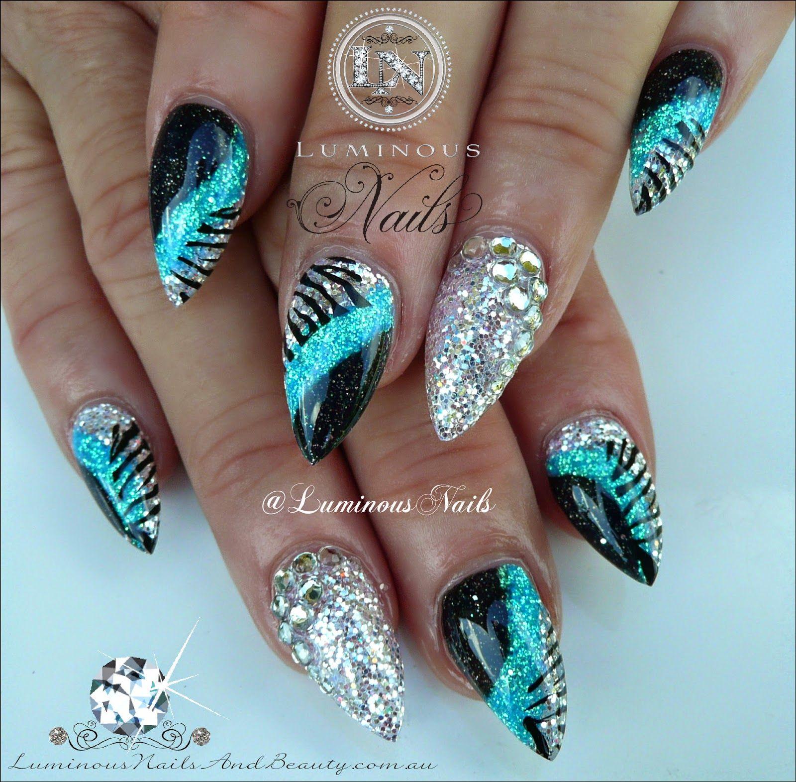 luminous nails: blue, silver & black acrylic nails with zebra