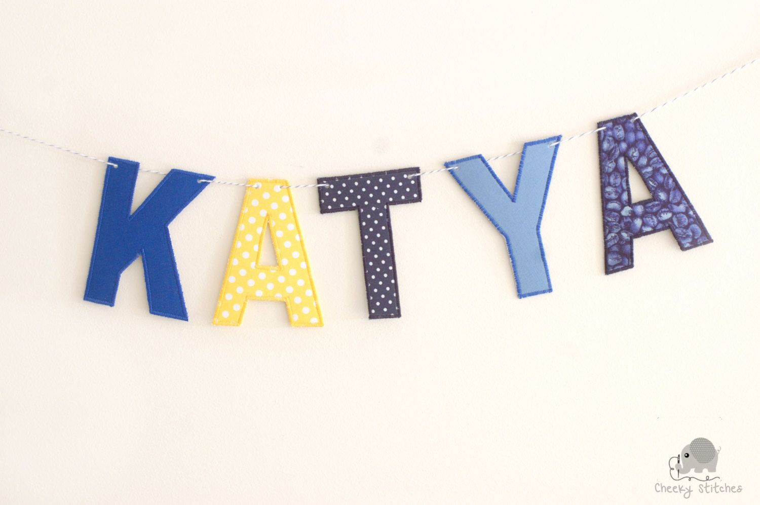 Indigo yellow fabric name banner, name garland, fabric letters, name hanging, name bunting, name décor, fabric letters on Baker's Twine by CheekyStitches on Etsy
