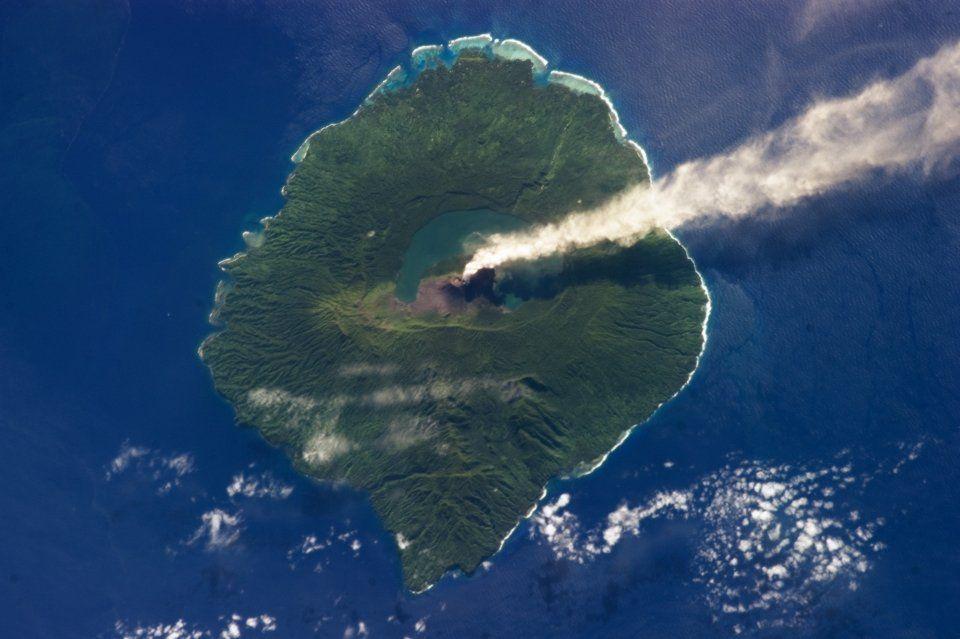volcanic island Gaua, Vanuatu Islands seen from the space