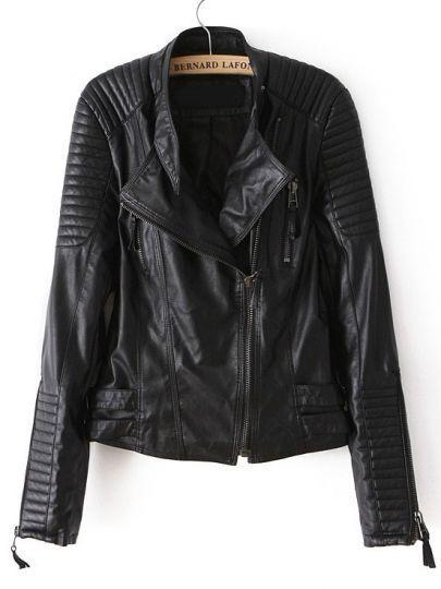 Black Long Sleeve Zipper Pu Leather Jacket Sheinside Com Mobile Site Vegan Leather Jacket Leather Jacket Jackets