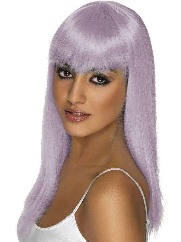 Neon Purple Glamourama Wig Long Straight w// Fringe Smiffys Fancy Dress Costume