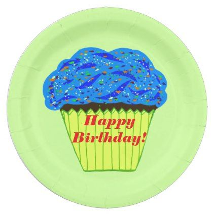 Happy Birthday Blue Cupcake Paper Plates - kitchen gifts diy ideas decor special unique inidual customized  sc 1 st  Pinterest & Happy Birthday Blue Cupcake Paper Plates | Cupcake papers