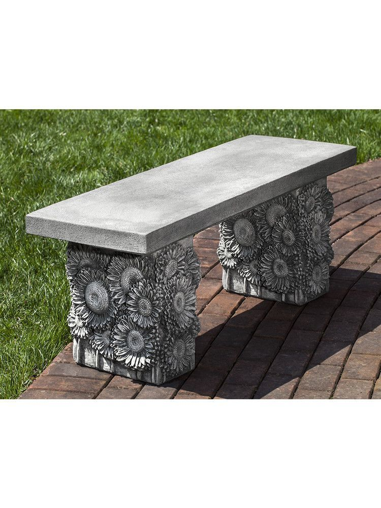 Astounding Sunflower Cast Stone Outdoor Garden Bench Products In 2019 Inzonedesignstudio Interior Chair Design Inzonedesignstudiocom